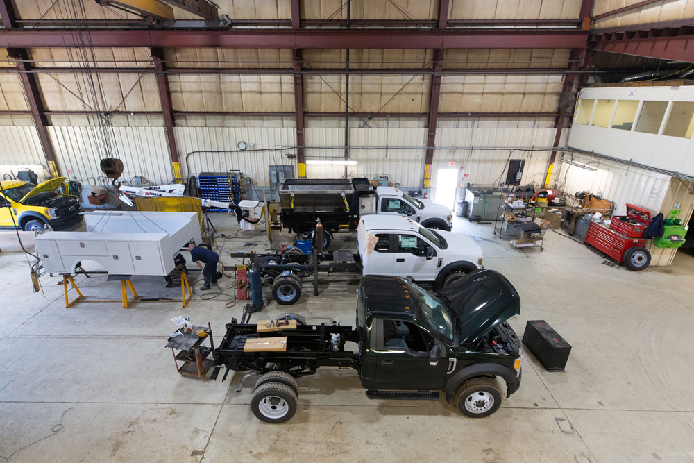 vehicles being assembled